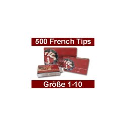 French White Tip-Box, 500 Stück - Gr.1-10